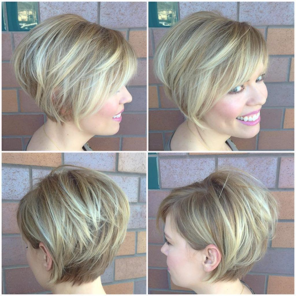 Blonde Stacked Bob With Side Swept Bangs And Highlights Short Regarding Short Haircuts Side Swept Bangs (View 8 of 25)