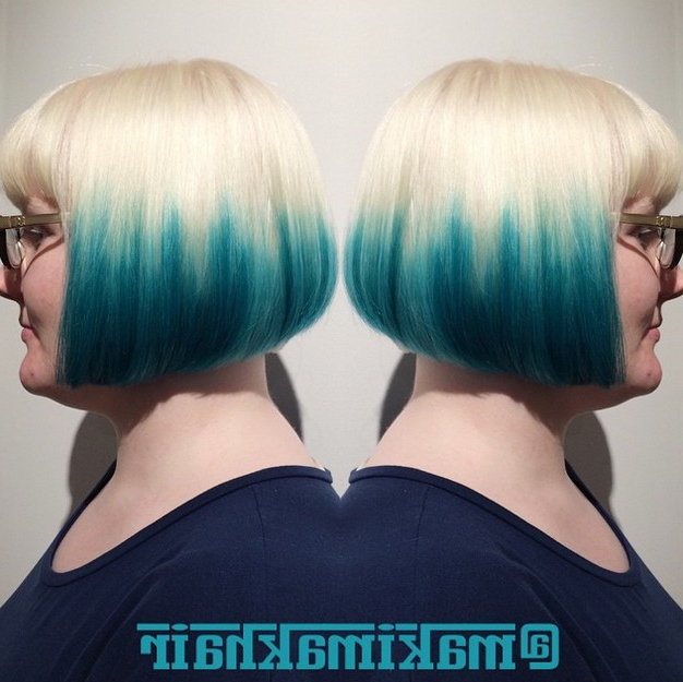 Blonde To Blue Ombre Graduated Bob Hairstyle With Glasses – Popular Intended For Blue Balayage For Black Choppy Bob Hairstyles (View 12 of 25)