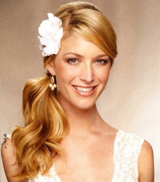 Blonde Wavy Side Wedding Ponytail – Wedding – Careforhair.co (View 19 of 25)