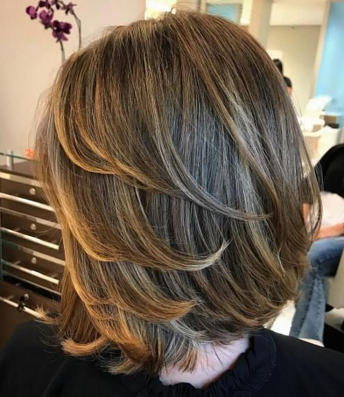 Bob Hairstyle With Swoopy Layers   Mid Length Haircuts In 2018 With Silver Balayage Bob Haircuts With Swoopy Layers (View 5 of 25)