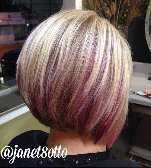 Bob With Color – Google Search | Hairstyles In 2018 | Pinterest In Extreme Angled Bob Haircuts With Pink Peek A Boos (View 19 of 25)