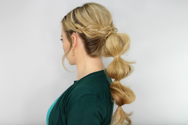 Braid Wrapped Bubble Ponytail With French Braid Ponytail Hairstyles With Bubbles (View 22 of 25)