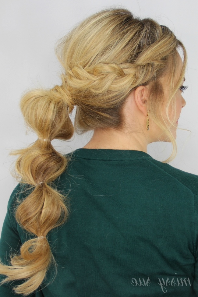 Braid Wrapped Bubble Ponytail Within French Braid Ponytail Hairstyles With Bubbles (View 7 of 25)