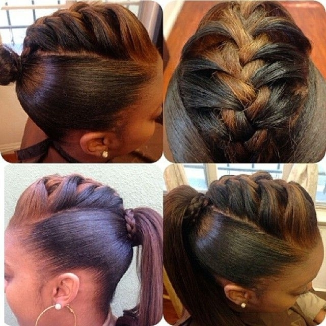 Braided Back Ponytail Hairstyle | Braids | Pinterest | Hair Styles Throughout Braid And Bun Ponytail Hairstyles (View 2 of 25)