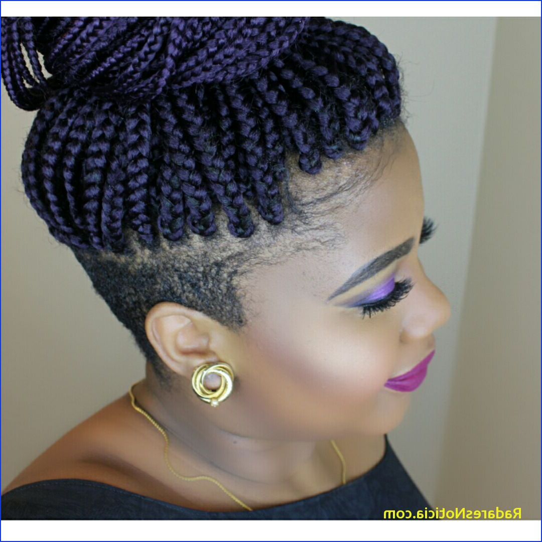 Braided Hairstyles For Short Hair Black Braids With Shaved Sides With Regard To Short Hairstyles With Both Sides Shaved (View 18 of 25)