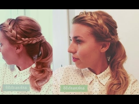 Braided Headband Retro Ponytail – Hairstyles For Long Hair – Youtube In Braided Crown Pony Hairstyles (View 3 of 25)