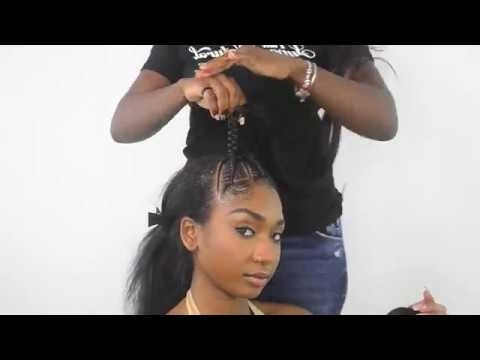 Braided Ponytail Featuring Creme Of Nature Perfect Edges Black – Youtube In Braided Maze Low Ponytail Hairstyles (View 13 of 25)