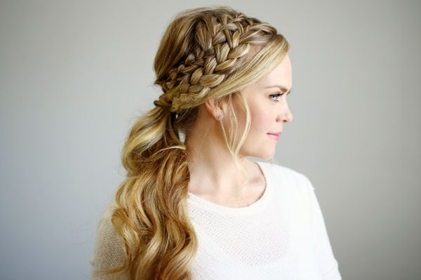 Braided Ponytail Hairstyles, Hair Braided Into A Ponytail Pictures Intended For French Braid Ponytail Hairstyles With Curls (View 12 of 25)