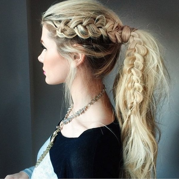 Braided Ponytail Hairstyles, Hair Braided Into A Ponytail Pictures With Regard To French Braid Ponytail Hairstyles With Curls (View 18 of 25)