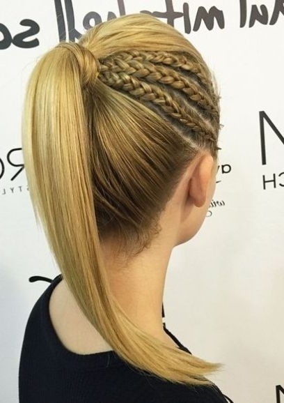 Braided Ponytail Ideas: 40 Cute Ponytails With Braids | Peinados With Regard To Triple Braid Ponytail Hairstyles (View 11 of 25)