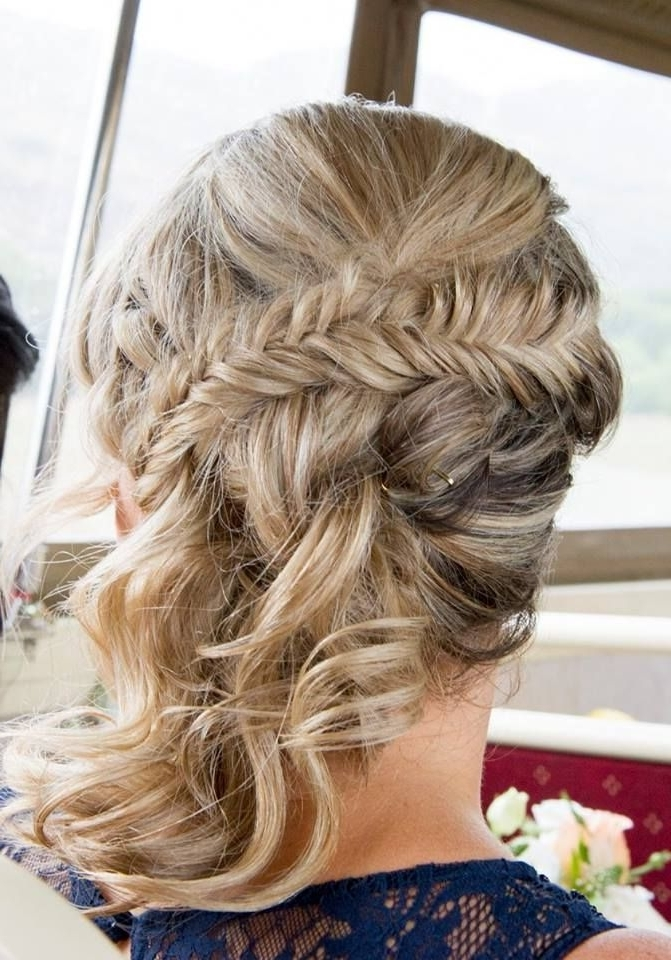 Bridesmaid Updo With Fishtail Braid And Curly Side Pony Tail (View 21 of 25)