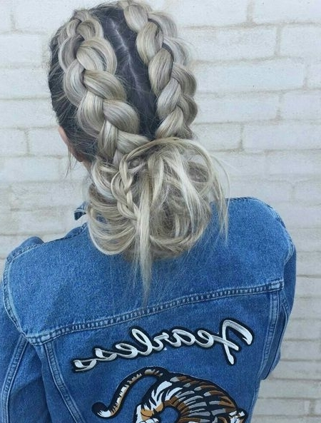 Brown Ombre Braided Ponytail Hairstyles 2018 | Peinados | Pinterest With Regard To Blonde Ponytails With Double Braid (View 23 of 25)