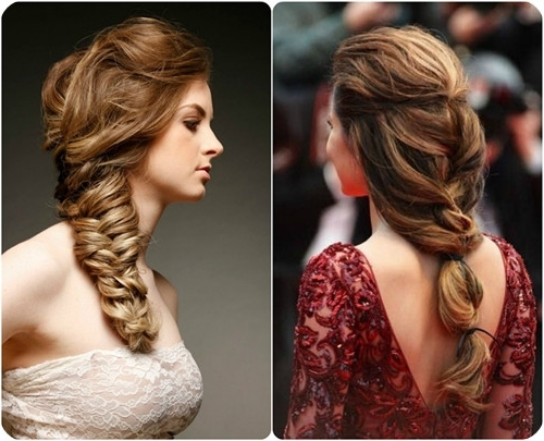 Brown To Blonde Braided Ponytail And Fishtail Ombre Color Hairstyles Regarding Fishtail Ponytails With Hair Extensions (View 7 of 25)