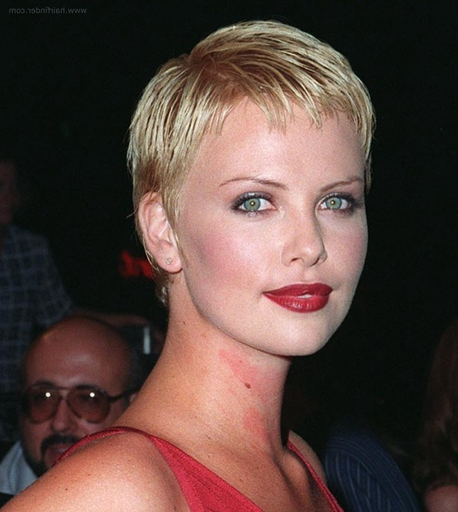 Charlize Theron   Short Pixie Haircut With Gelled Hair In Charlize Theron Short Haircuts (View 6 of 25)