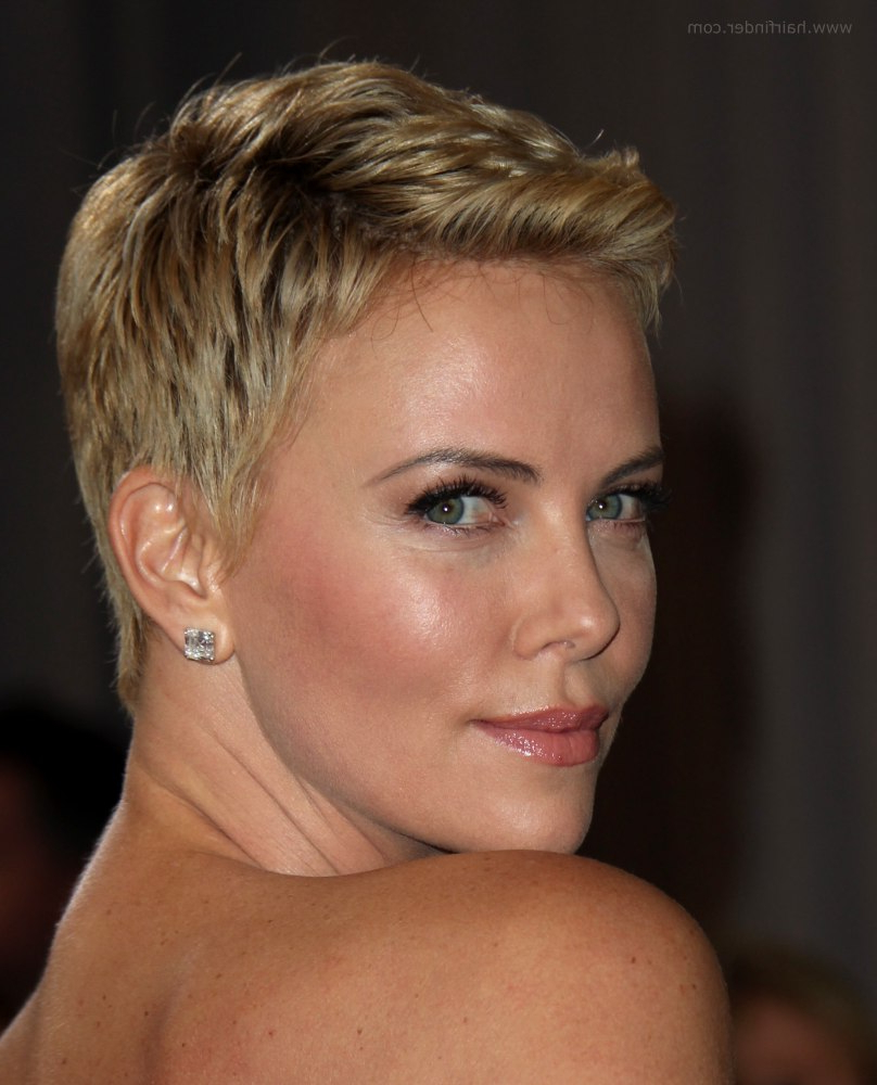 Charlize Theron   Super Short Pixie Cut For Pale Blonde Hair With Regard To Charlize Theron Short Haircuts (View 3 of 25)