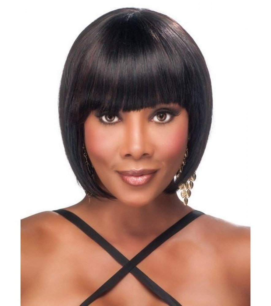 Cheap Short Straight Black And Dark Auburn Synthetic Wig Sale Within Auburn Short Haircuts (View 16 of 25)