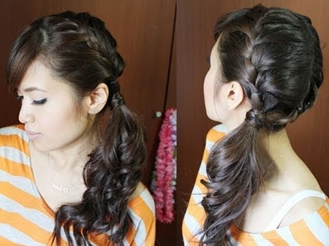 Chic Side Ponytail French Braid Hairstyle For Long Hair Tutorial Regarding Criss Cross Side Ponytails (View 22 of 25)