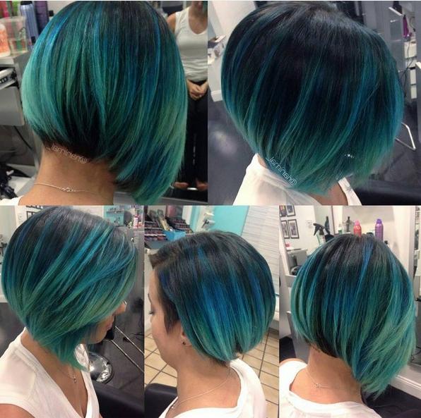 Chic, Straight Bob Haircut – Blue Balayage Ombre – Popular Haircuts Intended For Blue Balayage For Black Choppy Bob Hairstyles (View 18 of 25)