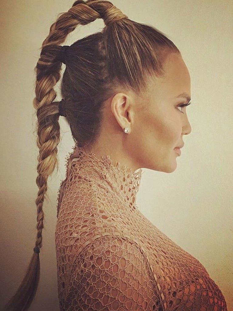 Chrissy Teigen's Futuristic Triple Braided Ponytail Is The Perfect With Triple Braid Ponytail Hairstyles (View 4 of 25)