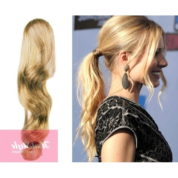 "Clip In Ponytail Wrap / Braid Hair Extension 24"" Wavy – Natural Blonde With Wavy Ponytails With Flower (View 13 of 25)"