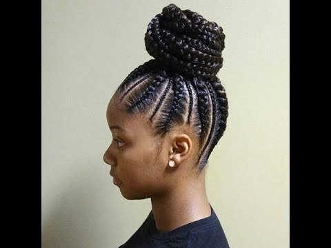 Cornrows And Ponytail African Braids Hairstyles 2018 – Youtube Inside Sculpted And Constructed Black Ponytail Hairstyles (View 13 of 25)