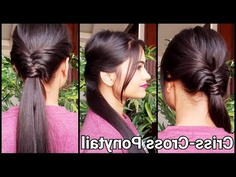 Criss Cross Ponytail//everyday Hairstyles For School/work//indian Inside Criss Cross Side Ponytails (View 18 of 25)