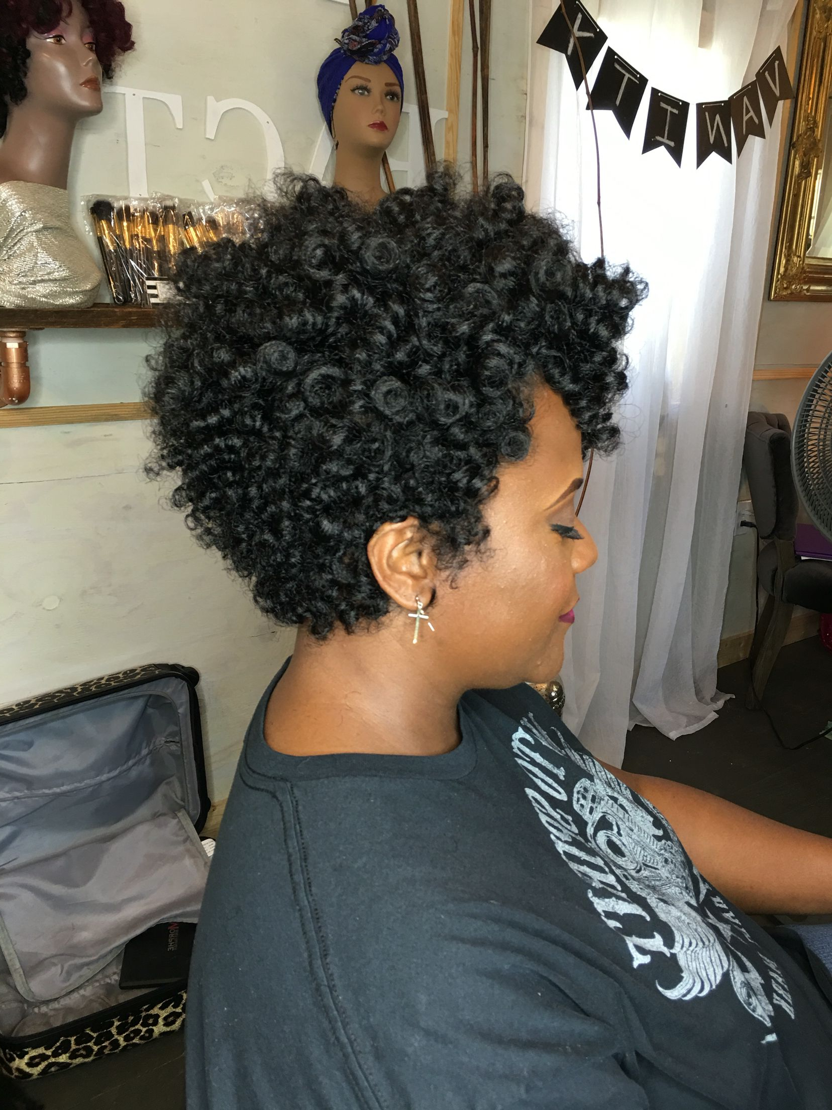 Crochet Braids With No Leave Out Using Curlkalon Carrie, Toni And For Soft Curly Tapered Pixie Hairstyles (View 8 of 25)