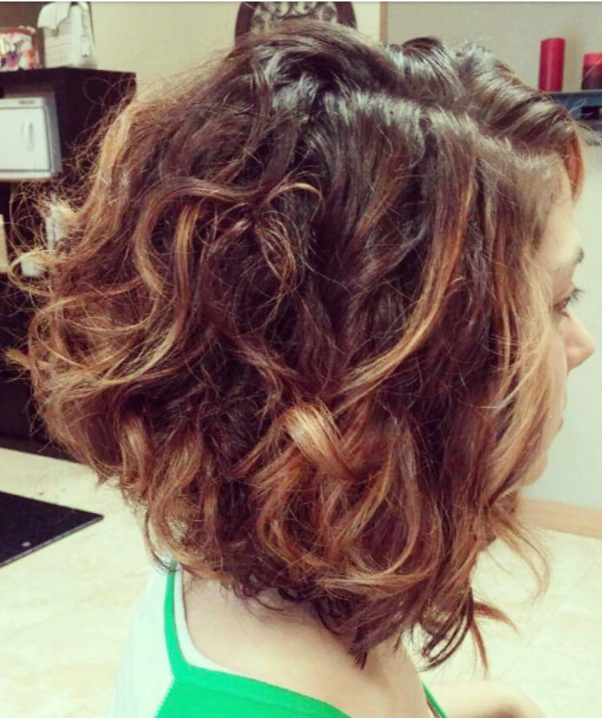 Curly Angled Bob. (View 2 of 25)