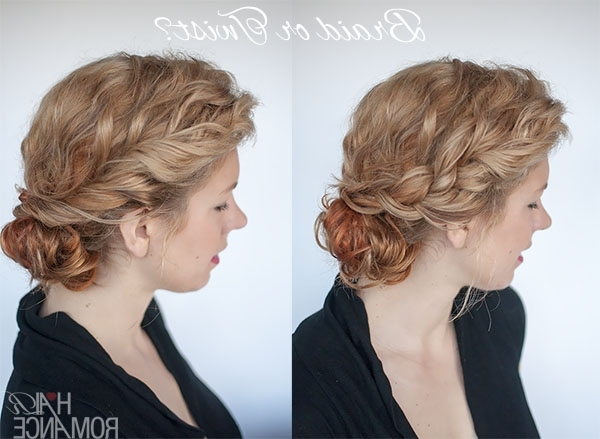 Curly Bun Hairstyle Tutorial – Two Ways – Hair Romance Intended For Twisted Front Curly Side Ponytail Hairstyles (View 16 of 25)