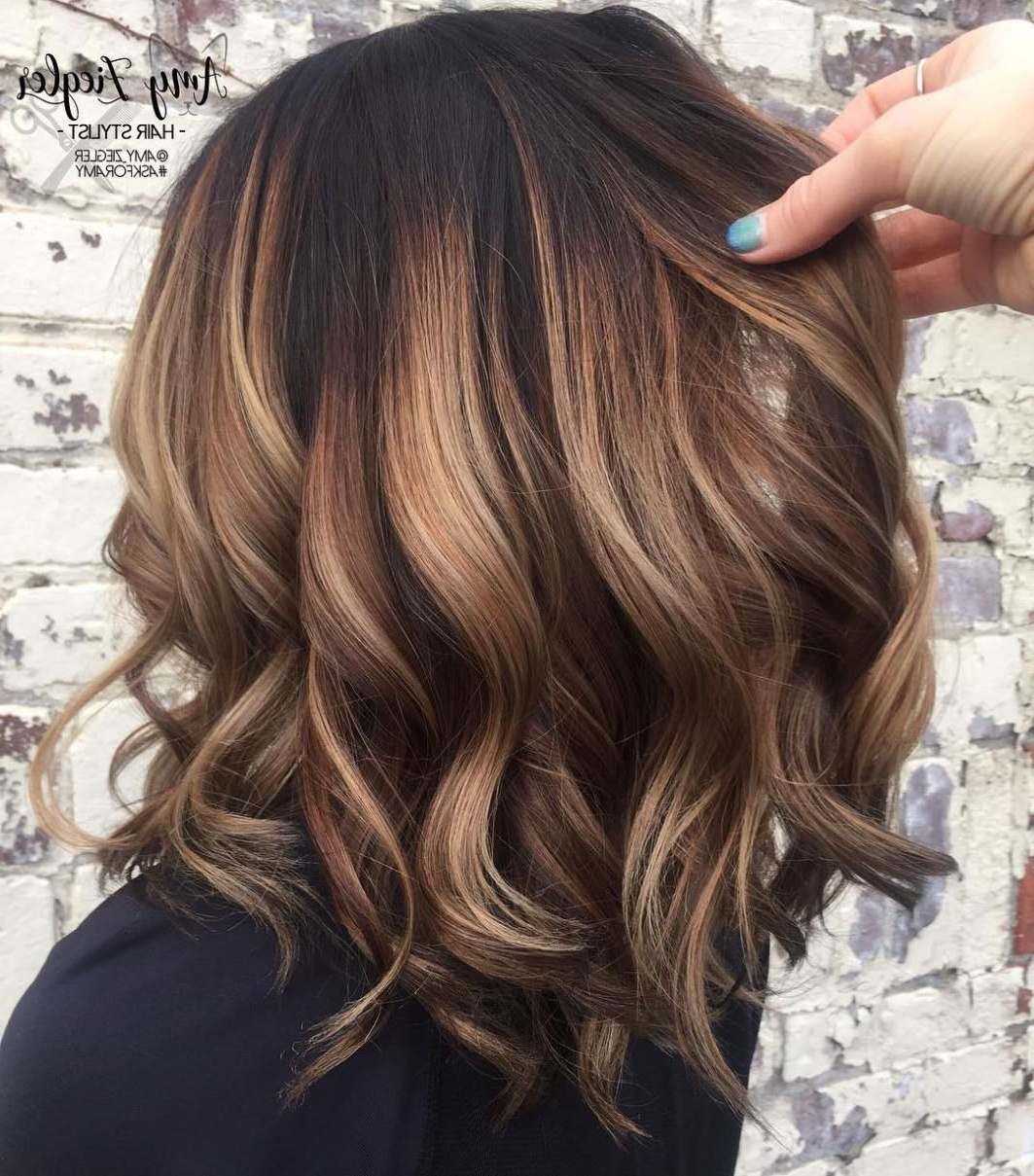 Curly Caramel Balayage Bob   Curly Hair In 2018   Pinterest   Hair Throughout Soft Brown And Caramel Wavy Bob Hairstyles (View 2 of 25)