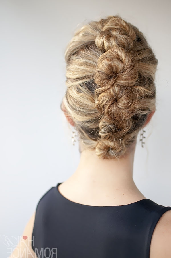 Curly Hair Tutorial – The French Roll Twist And Pin Hairstyle – Hair Throughout Twisted And Pinned Blonde Ponytails (View 10 of 25)