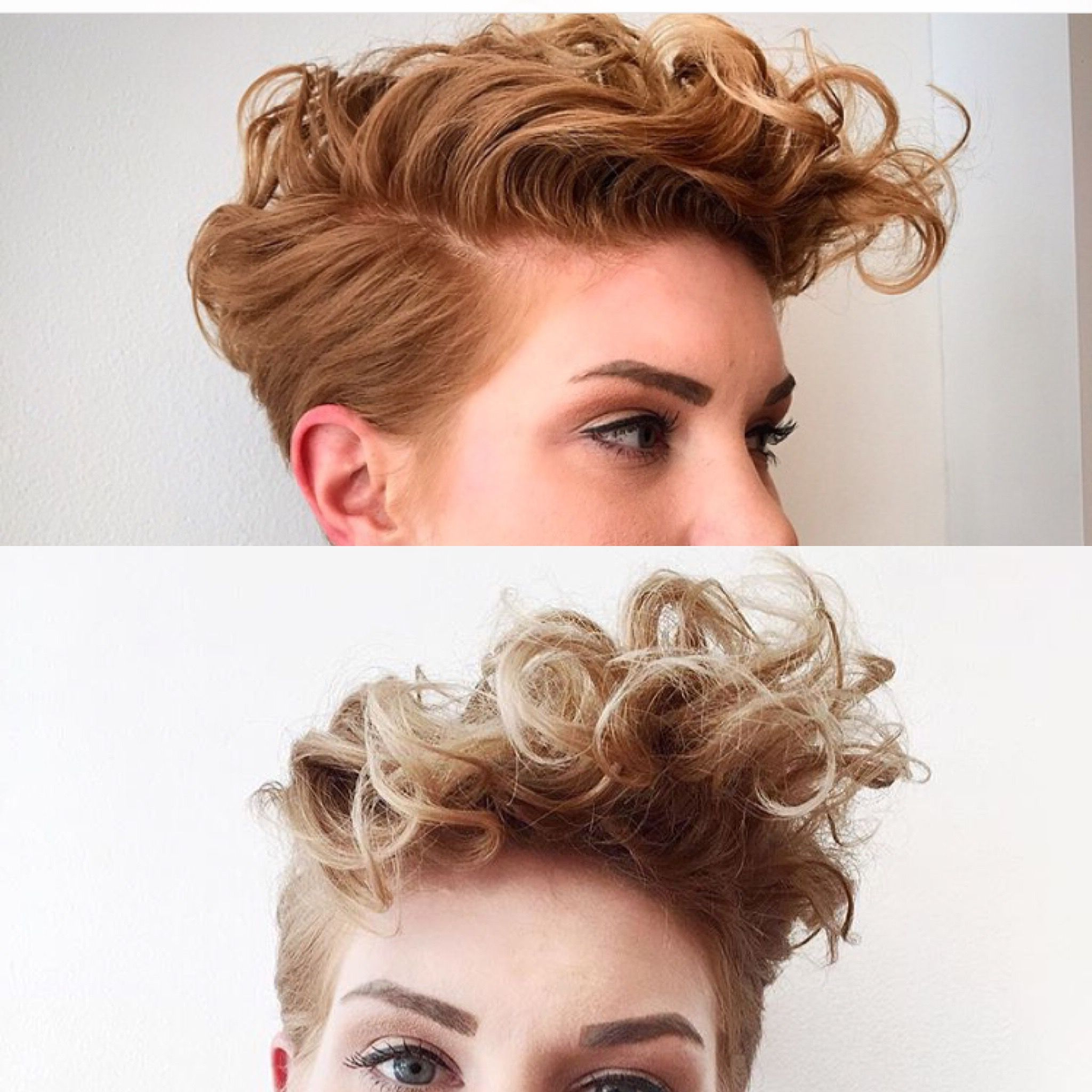 Curly Pixie Faux Hawk … | Pixies In 2018 | Pinterest | Curly Pixie Pertaining To Tapered Brown Pixie Hairstyles With Ginger Curls (View 14 of 25)