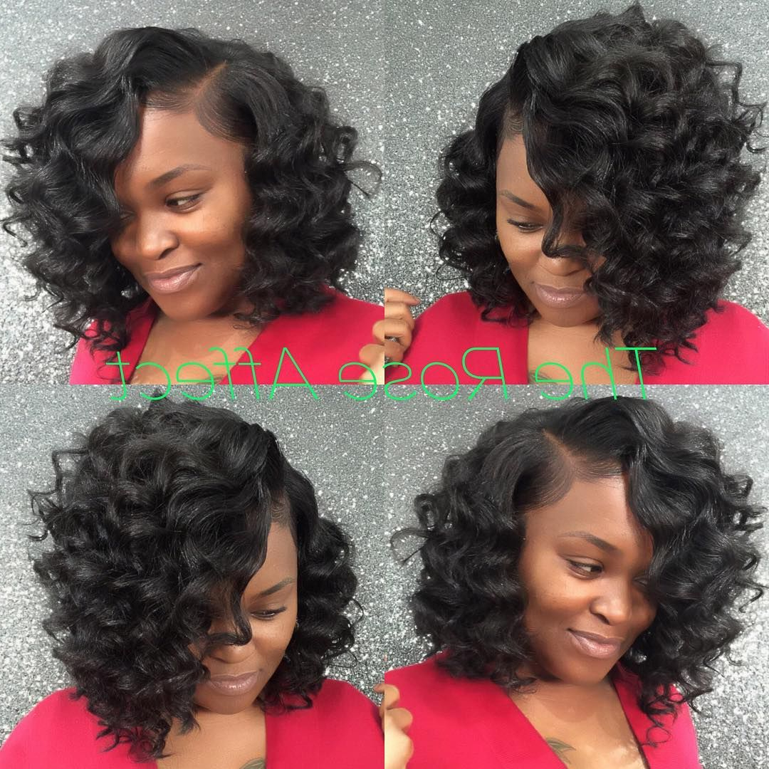 Cute Curly Bob Sew In!! This Is The Rose Affect! Get Prickeda With Regard To Bouncy Curly Black Bob Hairstyles (View 6 of 25)