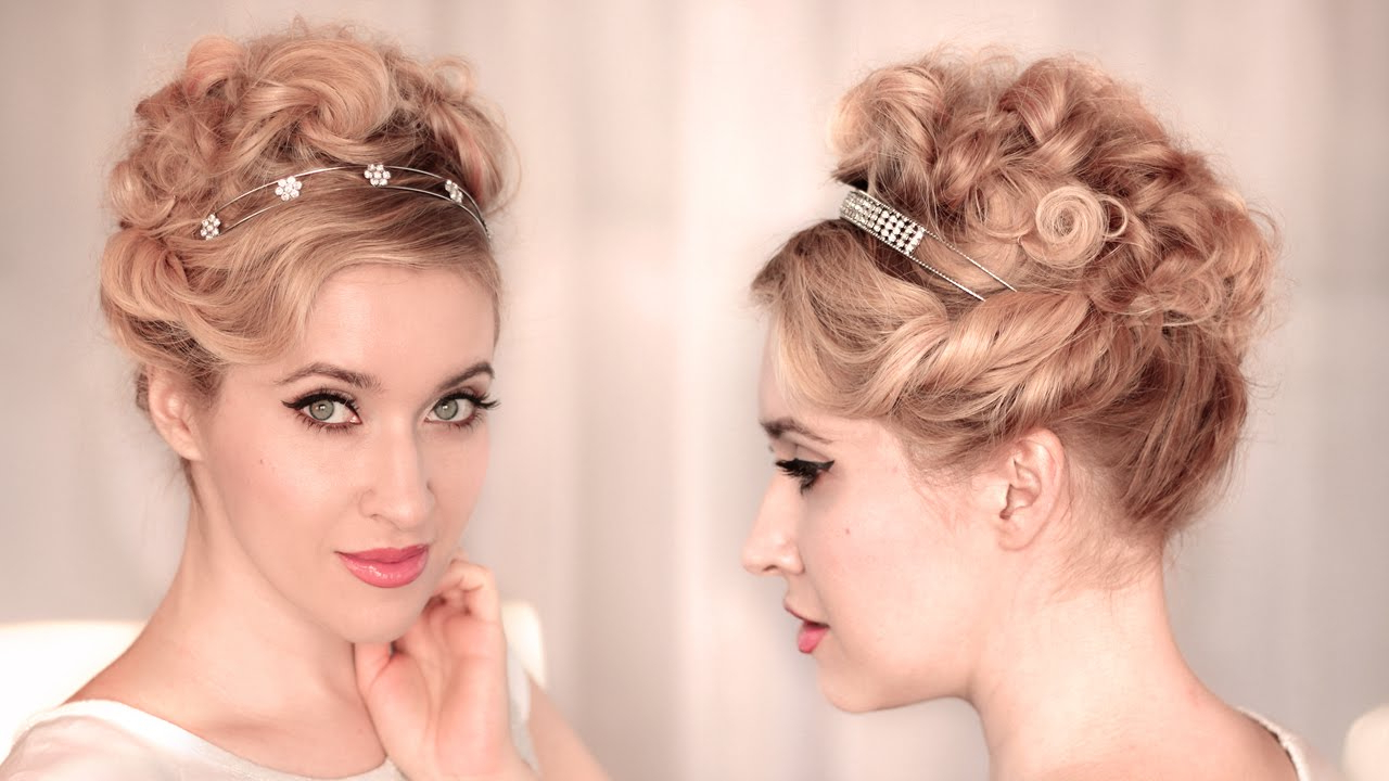 Cute, Easy Curly Updo For Wedding/prom ? Hairstyle For Medium Long Within Cute Hairstyles For Short Hair For A Wedding (View 15 of 25)
