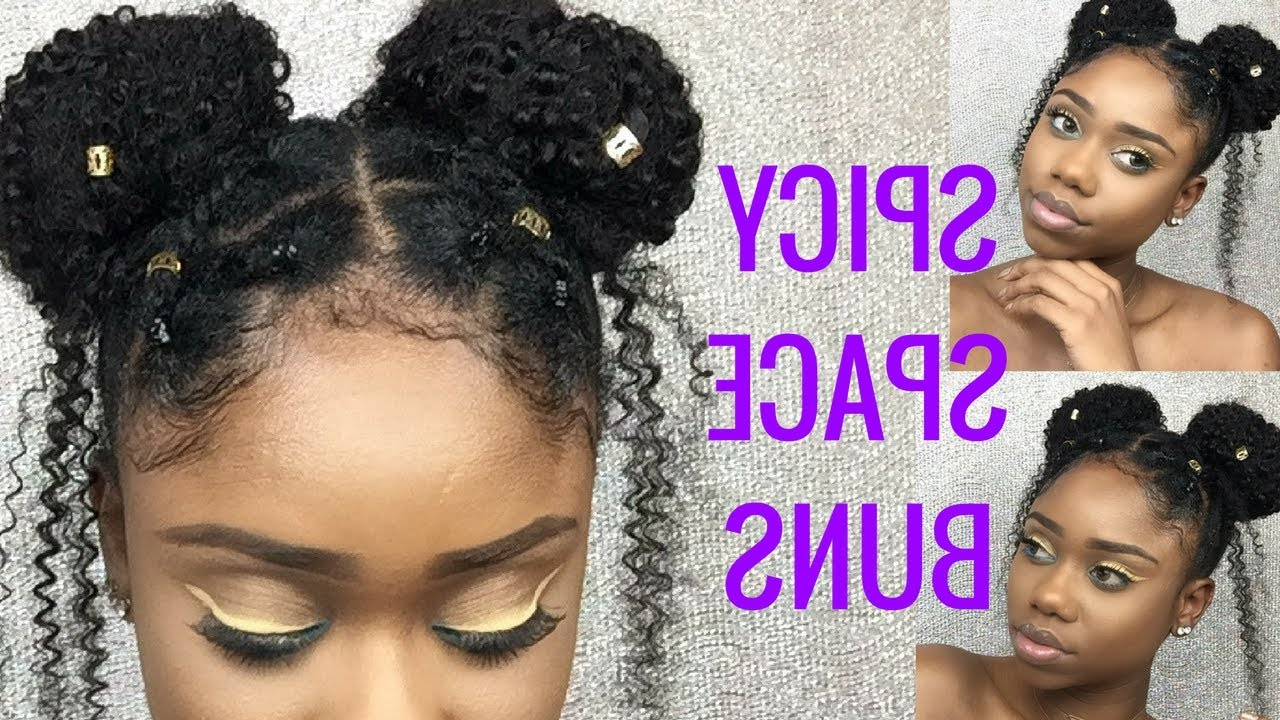 Cute Hairstyle For Short 4C/b/a Natural Hair || Spicy Space Buns Throughout 4C Short Hairstyles (View 12 of 25)