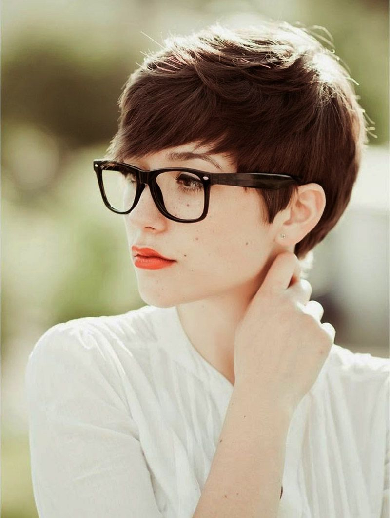 Cute Very Short Hairstyles For Women With Glasses | Classy Me For Short Haircuts For Girls With Glasses (View 3 of 25)