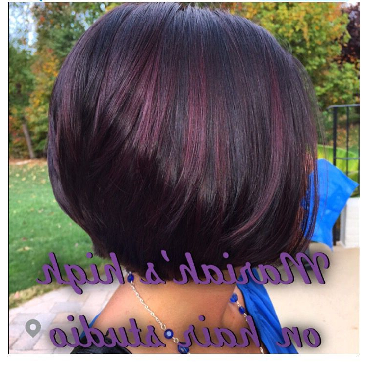 Dark Brown Hair With Balayage Red Violet On Short Bob Haircut | High With Stacked Black Bobhairstyles  With Cherry Balayage (Gallery 2 of 25)