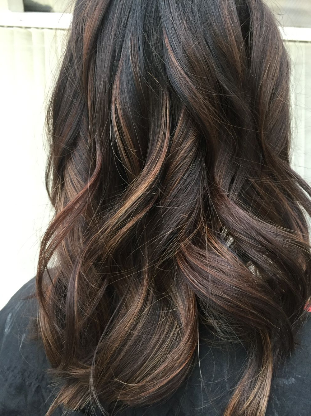 Dark Brunette Balayage With Caramel | Hair 's | Pinterest | Balayage For Curly Dark Brown Bob Hairstyles With Partial Balayage (Gallery 1 of 25)