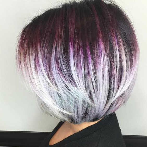 Dark Purple Roots That Fade/ Melt Into White/ Silver Ends | Hair In Throughout White Bob Undercut Hairstyles With Root Fade (Gallery 2 of 25)