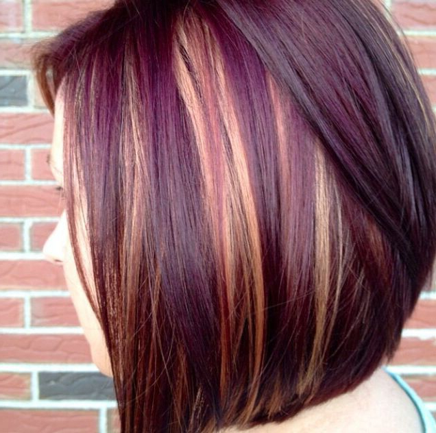 Dark Purple With Blonde Highlights | Hair Hair Hair In 2018 Intended For Dirty Blonde Pixie Hairstyles With Bright Highlights (Gallery 21 of 25)