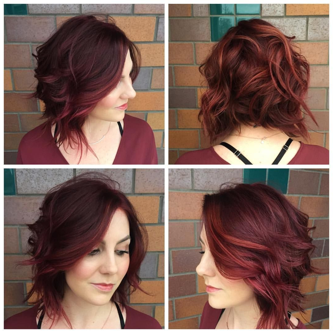 Dark Red Wavy A Line Bob Haircut | Edgy Short Hair | Pinterest In Edgy Short Curly Haircuts (Gallery 3 of 25)