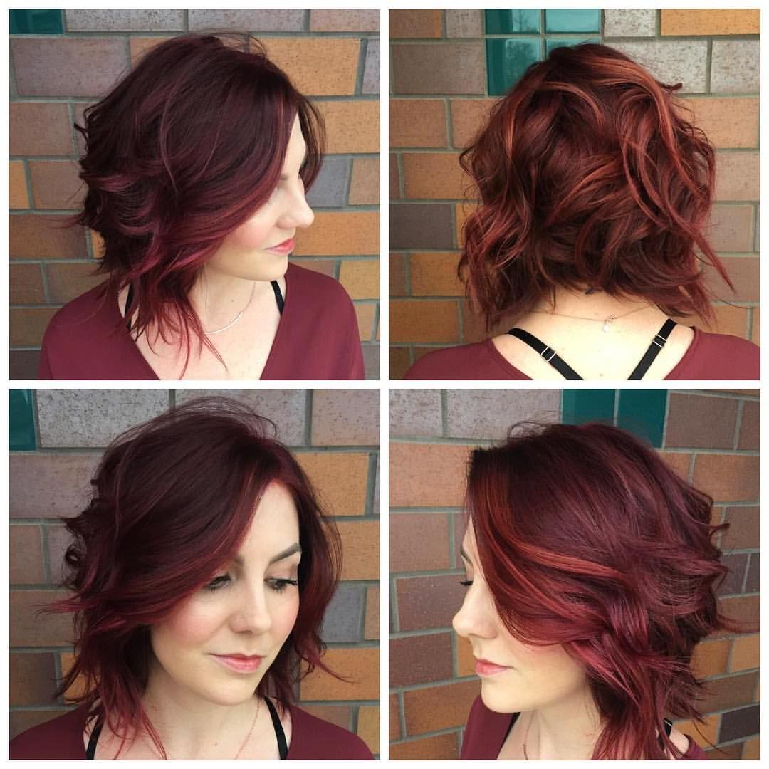 Dark Red Wavy A Line Bob Haircut   Edgy Short Hair   Pinterest within Edgy Short Bob Haircuts
