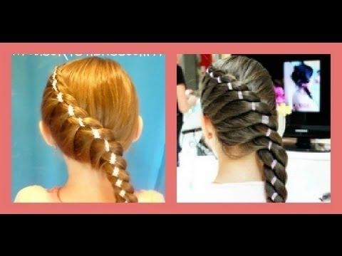 """Diagonal Twist Braid With Ribbon """"braided Hairstyles"""" – Youtube With Diagonally Braided Ponytail Hairstyles (Gallery 12 of 25)"""