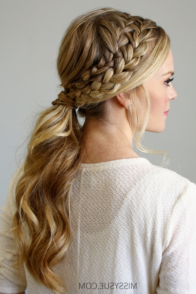 Double Braided Ponytail In Double French Braid Crown Ponytail Hairstyles (View 3 of 25)
