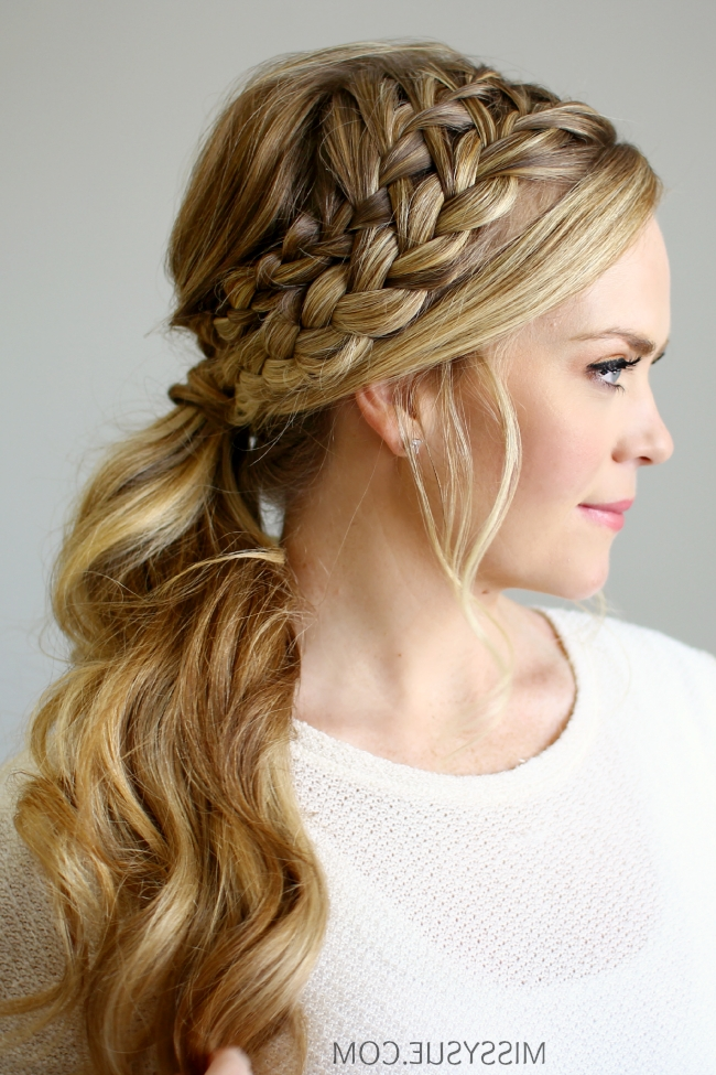 Double Braided Ponytail Pertaining To Twin Braid Updo Ponytail Hairstyles (Gallery 13 of 25)