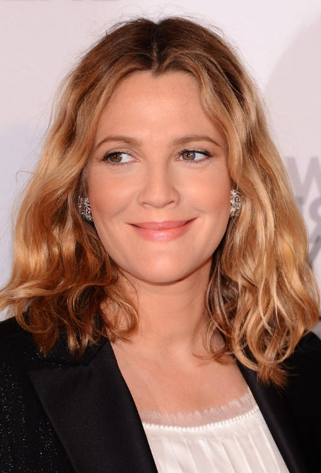 Drew Barrymore Medium Length Hairstyle: Tousled Wavy Bob Hair throughout Tousled Wavy Bob Haircuts