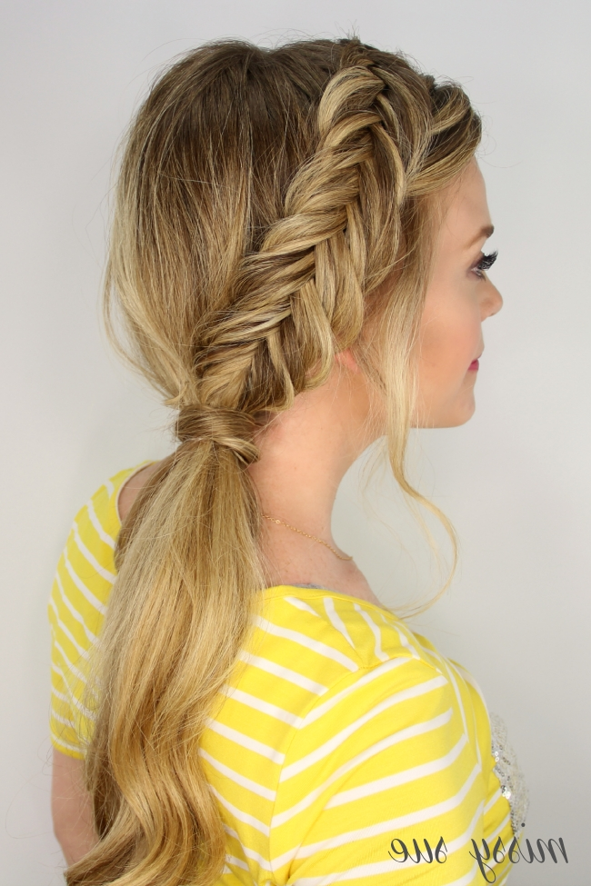 Dutch Fishtail Side Pony Pertaining To Fishtail Braid Ponytails (Gallery 14 of 25)