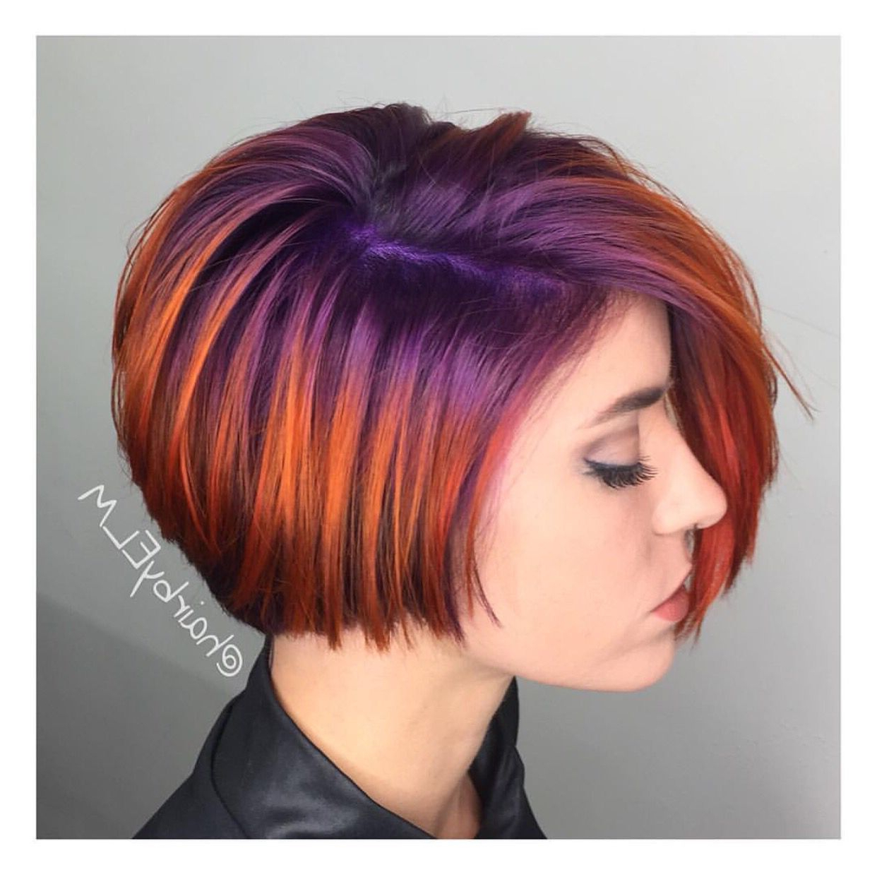 ? We Are Loving This Short Haircut With Its Bright Purple To Violet Throughout Bright Red Short Hairstyles (View 3 of 25)