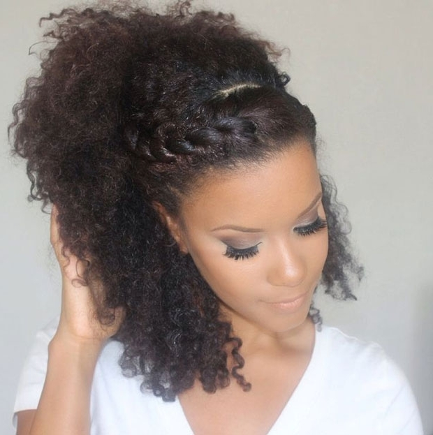 Easy Braids For Curly Hair – The Fashion Spot Regarding Wavy Side Ponytails With A Crown Braid (View 21 of 25)
