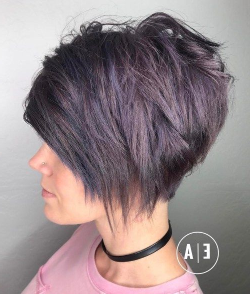 Featured Photo of Edgy Purple Tinted Pixie Haircuts